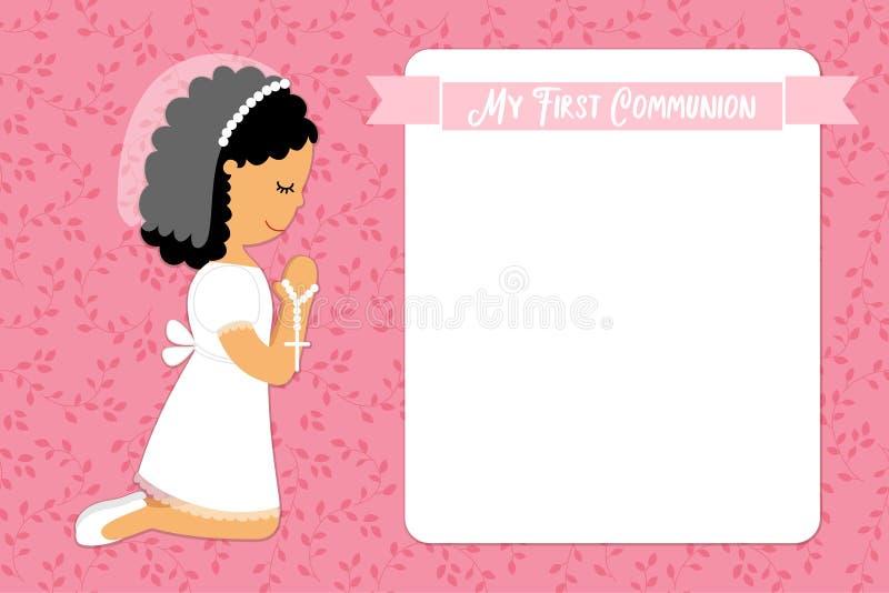 Χαριτωμένη πρώτη κάρτα κοινωνίας για τα κορίτσια διανυσματική απεικόνιση