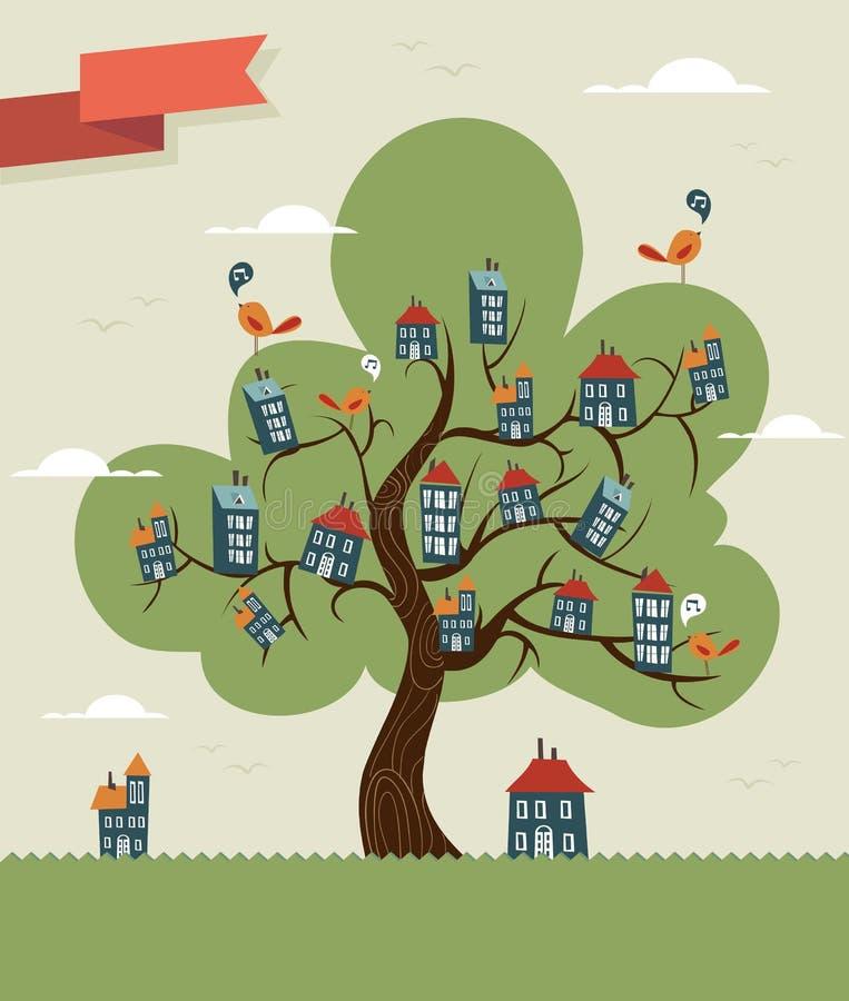 Χαριτωμένη πόλη δέντρων απεικόνιση αποθεμάτων
