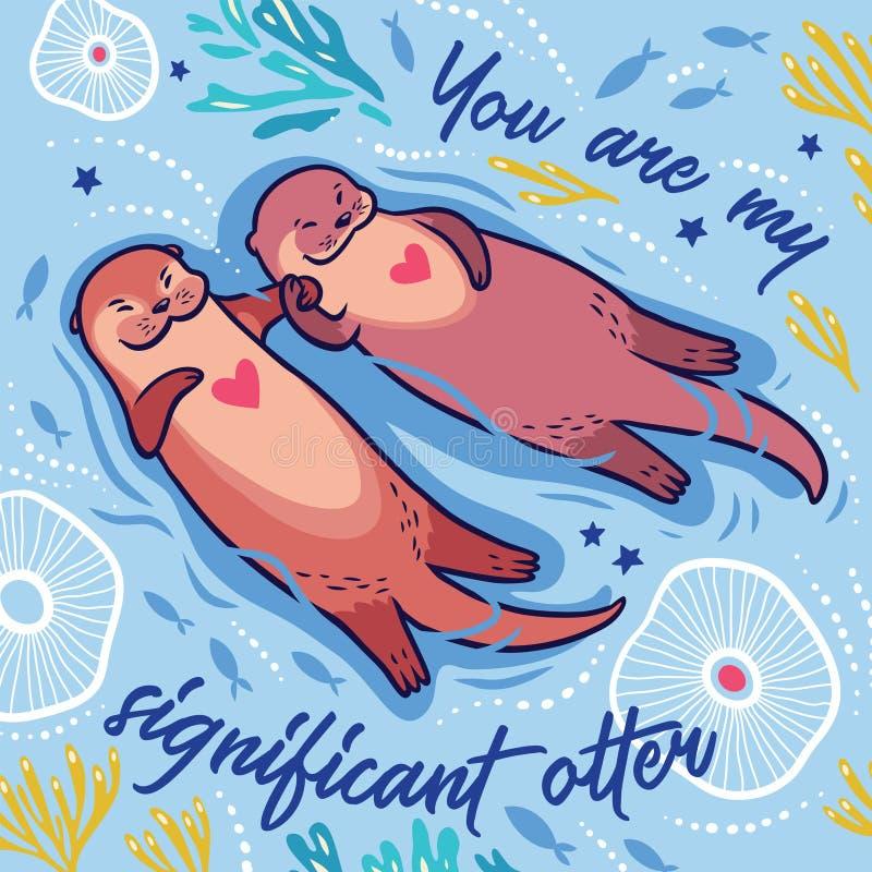 Χαριτωμένη ρομαντική κάρτα με δύο χαριτωμένα ενυδρίδες και κείμενο κινούμενων σχεδίων επίσης corel σύρετε το διάνυσμα απεικόνισης ελεύθερη απεικόνιση δικαιώματος
