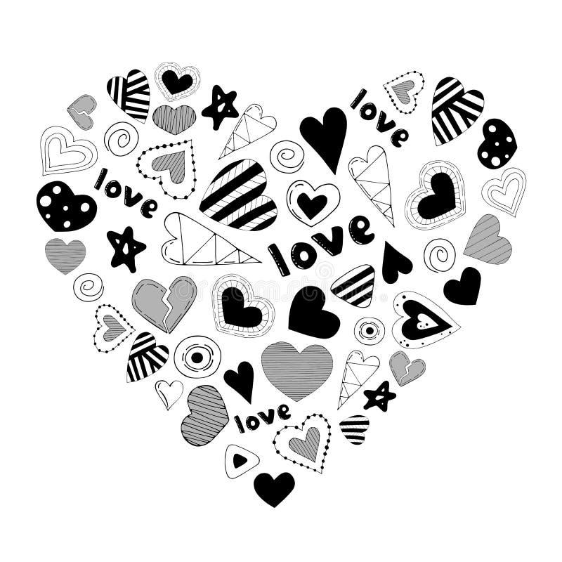 Χαριτωμένη ρομαντική καρδιά φιαγμένη από στοιχεία κινούμενων σχεδίων r απεικόνιση αποθεμάτων