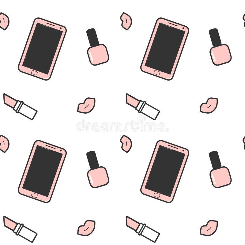 Χαριτωμένη ρόδινη άσπρη μαύρη απεικόνιση υποβάθρου κραγιόν στιλβωτικής ουσίας καρφιών smartphone και χειλικών άνευ ραφής σχεδίων απεικόνιση αποθεμάτων