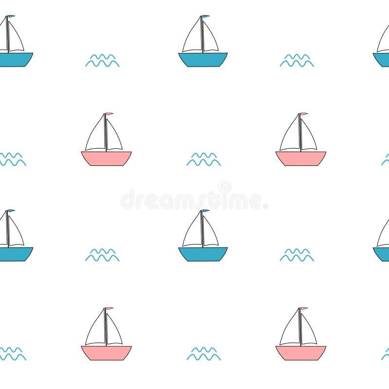 Χαριτωμένη ρόδινη και μπλε κινούμενων σχεδίων απεικόνιση υποβάθρου σχεδίων βαρκών άνευ ραφής απεικόνιση αποθεμάτων
