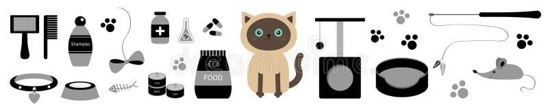 Χαριτωμένη σιαμέζα γάτα Σύνολο γραμμών ουσίας Τυπωμένη ύλη ποδιών, scrathing θέση σχοινιών, κρεβάτι, βούρτσα, σαμπουάν, περιλαίμι διανυσματική απεικόνιση