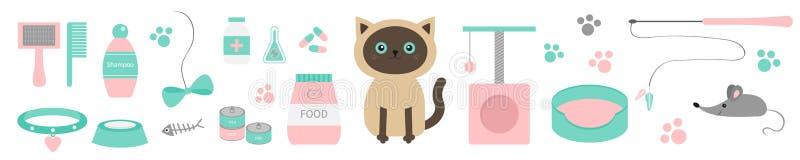 Χαριτωμένη σιαμέζα γάτα kawaii Σύνολο γραμμών ουσίας Τυπωμένη ύλη ποδιών, scrathing θέση σχοινιών, κρεβάτι, βούρτσα, σαμπουάν, πε διανυσματική απεικόνιση