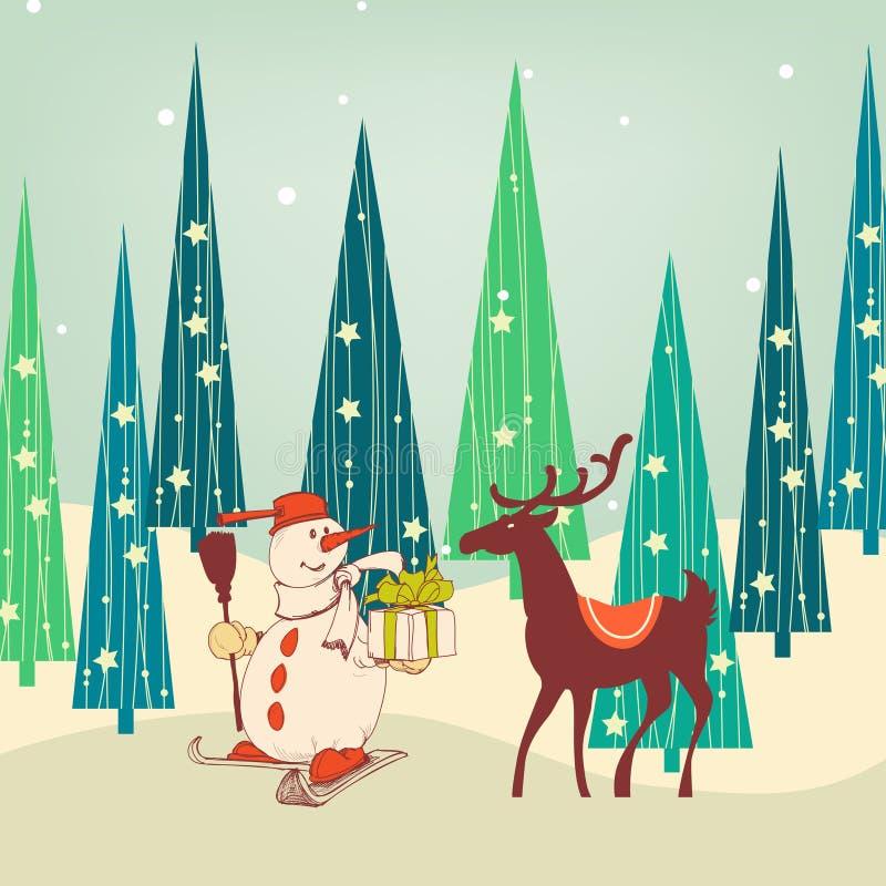 Χαριτωμένη σκηνή Χριστουγέννων απεικόνιση αποθεμάτων