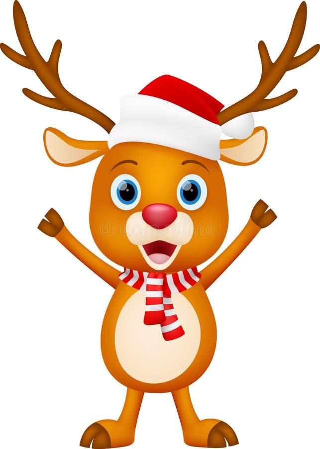 Χαριτωμένη στάση κινούμενων σχεδίων ελαφιών Χριστουγέννων ελεύθερη απεικόνιση δικαιώματος