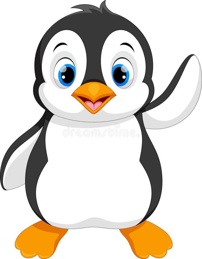 Χαριτωμένη συνεδρίαση κινούμενων σχεδίων μωρών penguin διανυσματική απεικόνιση