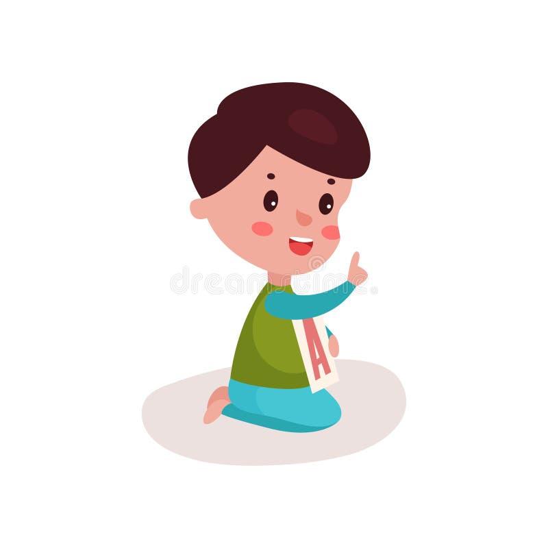 Χαριτωμένη συνεδρίαση μικρών παιδιών στο παιχνίδι πατωμάτων με το γράμμα Α, το παιδί που μαθαίνουν μέσω της διασκέδασης και το ζω απεικόνιση αποθεμάτων