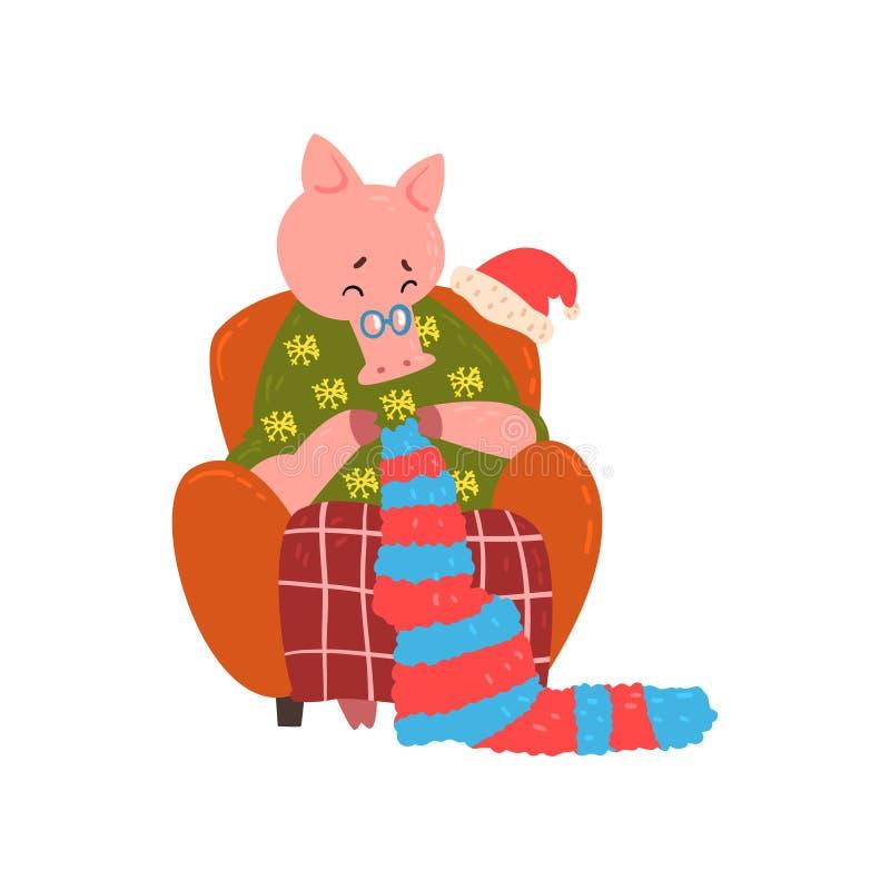 Χαριτωμένη συνεδρίαση χαρακτήρα γιαγιάδων χοίρων στην άνετη πολυθρόνα και πλέξιμο, κινεζικό σύμβολο του νέου έτους, στοιχείο σχεδ ελεύθερη απεικόνιση δικαιώματος