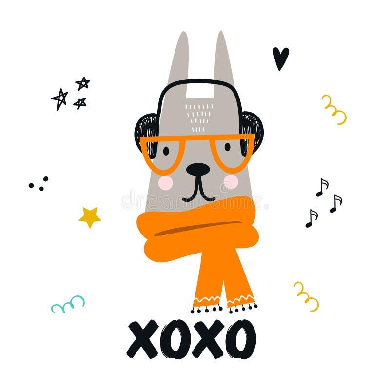 Χαριτωμένη συρμένη χέρι αφίσα βρεφικών σταθμών με τους λαγούς κινούμενων σχεδίων με τα γυαλιά και τα ακουστικά και με συρμένη τη  ελεύθερη απεικόνιση δικαιώματος