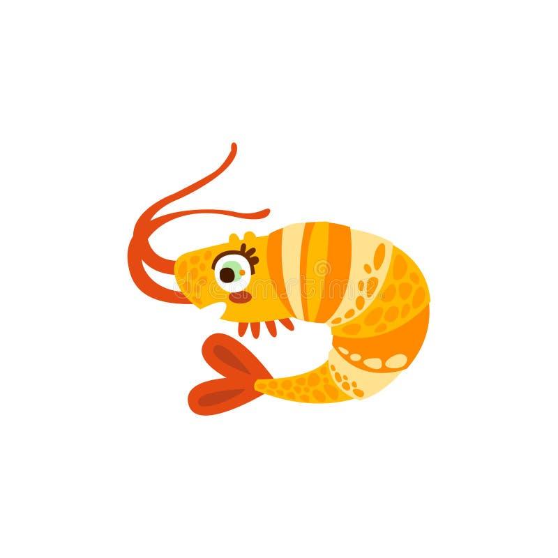 Χαριτωμένη συρμένη χέρι διανυσματική απεικόνιση πλασμάτων θάλασσας γαρίδων ελεύθερη απεικόνιση δικαιώματος