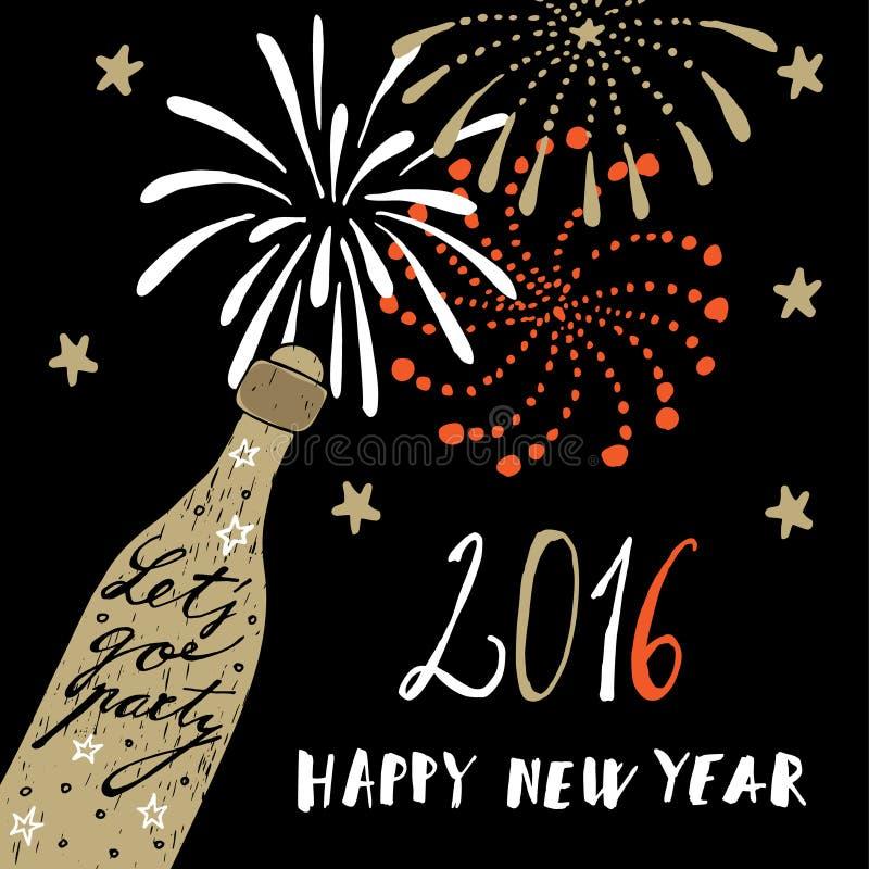 Χαριτωμένη συρμένη χέρι νέα ευχετήρια κάρτα έτους 2016 με το μπουκάλι και τα πυροτεχνήματα σαμπάνιας, διανυσματική απεικόνιση