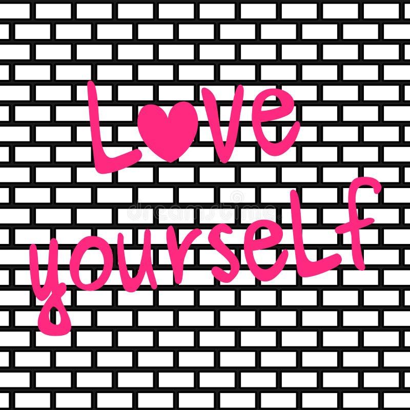 Χαριτωμένη συρμένη χέρι ρόδινη απεικόνιση καρτών αποσπάσματος αγάπης οι ίδιοι γράφοντας εμπνευσμένη στο υπόβαθρο τουβλότοιχος ελεύθερη απεικόνιση δικαιώματος