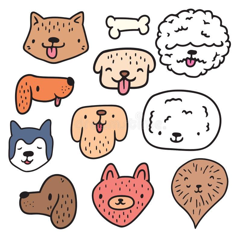 Χαριτωμένη συρμένη χέρι συλλογή προσώπων σκυλιών απεικόνιση αποθεμάτων