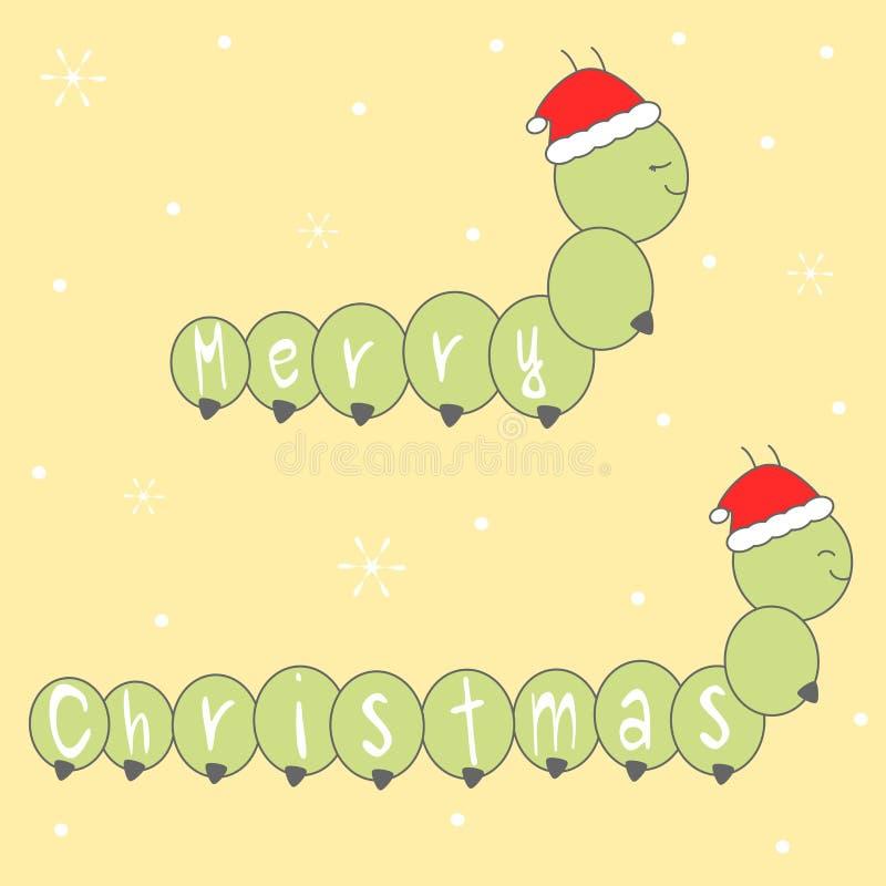 Χαριτωμένη συρμένη χέρι Χαρούμενα Χριστούγεννα κινούμενων σχεδίων που γράφει τη ευχετήρια κάρτα με τις κάμπιες με την απεικόνιση  απεικόνιση αποθεμάτων
