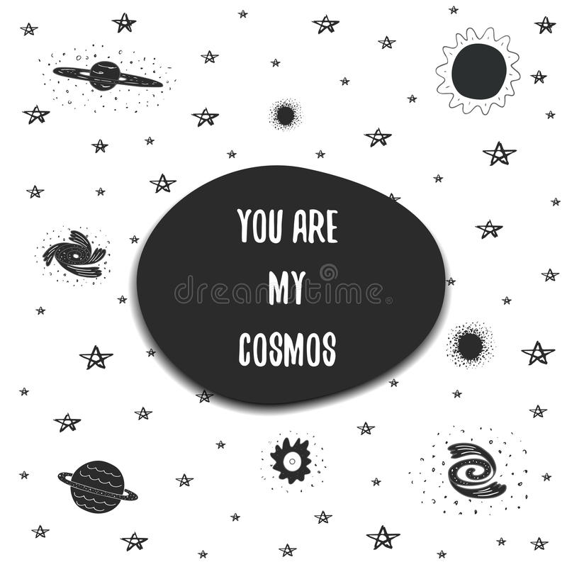 Χαριτωμένη συρμένη χέρι doodle διαστημική κάρτα διανυσματική απεικόνιση