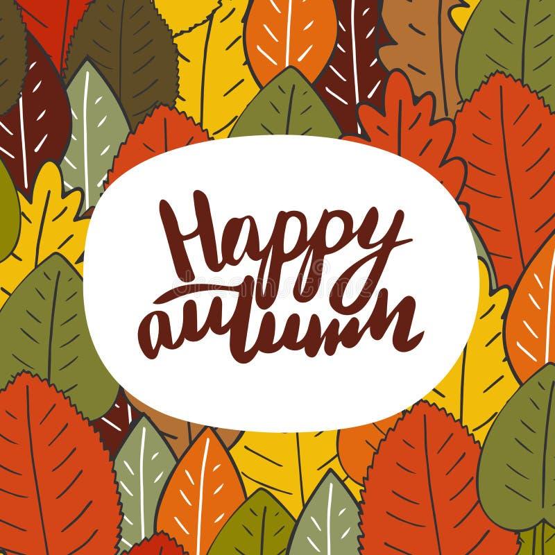 Χαριτωμένη συρμένη χέρι doodle κάρτα, κάρτα με τα φύλλα φθινοπώρου ελεύθερη απεικόνιση δικαιώματος