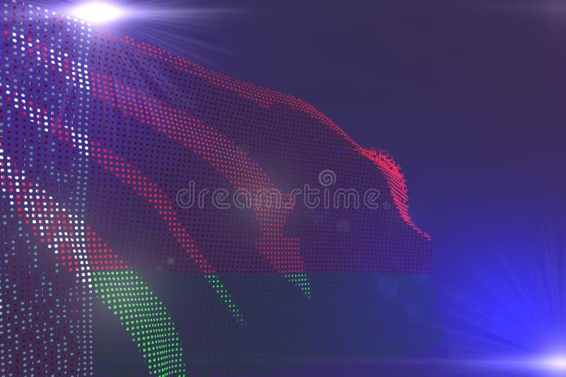Χαριτωμένη σύγχρονη φωτεινή εικόνα της λευκορωσικής σημαίας φιαγμένη από σημεία που κυματίζουν στην πορφύρα με το διάστημα για το ελεύθερη απεικόνιση δικαιώματος