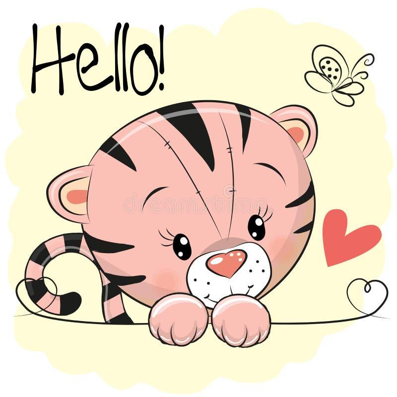 Χαριτωμένη τίγρη σχεδίων διανυσματική απεικόνιση