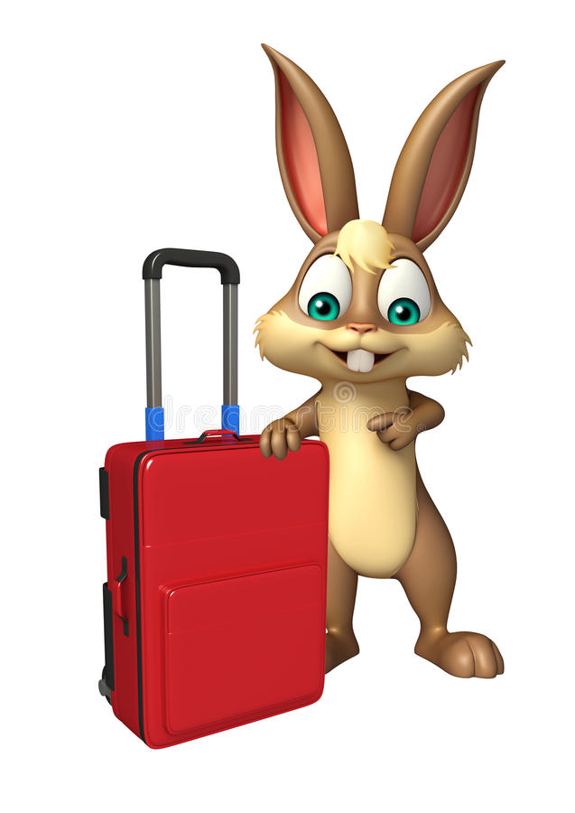 Χαριτωμένη τσάντα ταξιδιού χαρακτήρα κινουμένων σχεδίων λαγουδάκι διανυσματική απεικόνιση