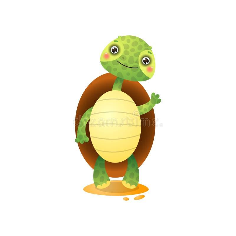 Χαριτωμένη υποδοχή χελωνών kawai που απομονώνεται στο άσπρο υπόβαθρο ελεύθερη απεικόνιση δικαιώματος