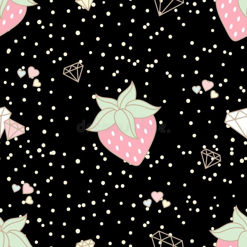 Χαριτωμένη φράουλα και διακοσμημένος με τις καρδιές και τα διαμάντια άνευ ραφής ελεύθερη απεικόνιση δικαιώματος