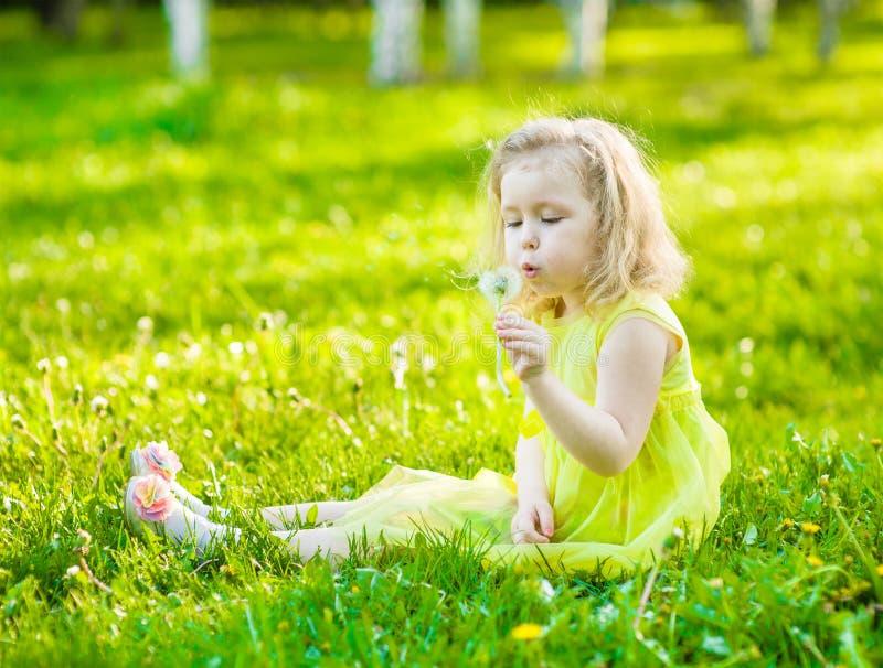Χαριτωμένη φυσώντας πικραλίδα μικρών κοριτσιών στοκ εικόνες