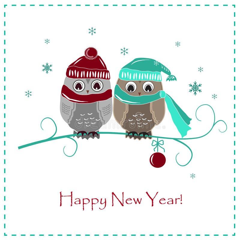 Χαριτωμένη χειμερινή κάρτα Δύο κουκουβάγιες μωρών στα καπέλα και τα μαντίλι ελεύθερη απεικόνιση δικαιώματος