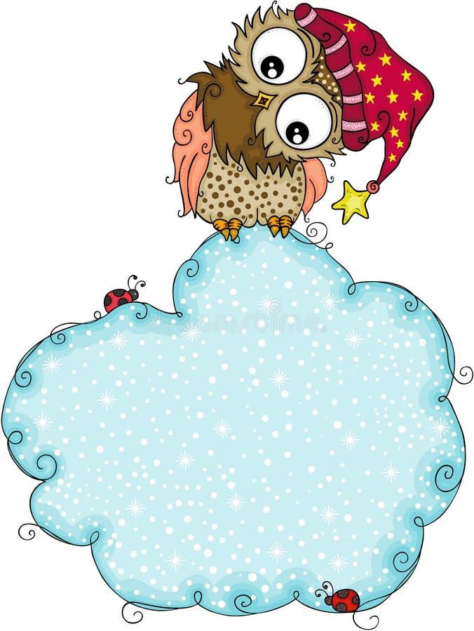Χαριτωμένη χειμερινή κουκουβάγια με το μπλε υπόβαθρο σύννεφων χιονιού ελεύθερη απεικόνιση δικαιώματος