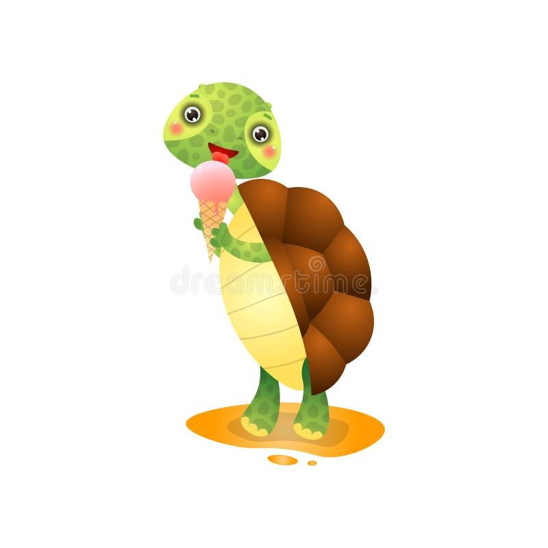 Χαριτωμένη χελώνα kawai που τρώει το παγωτό που απομονώνεται στο άσπρο υπόβαθρο διανυσματική απεικόνιση