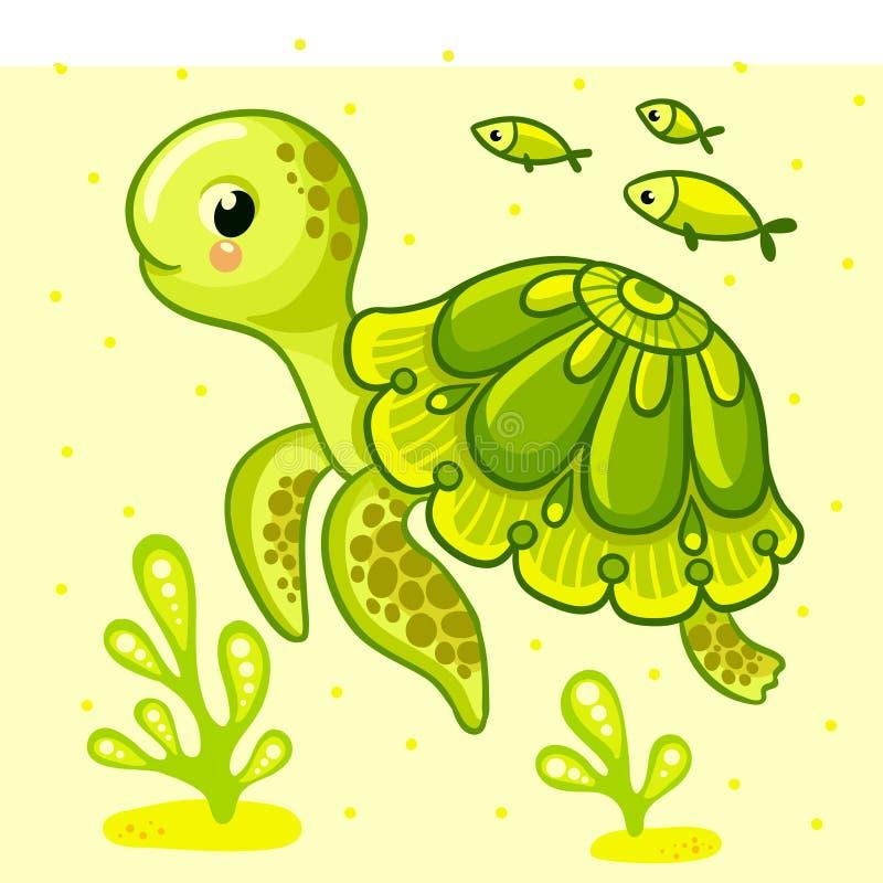 Χαριτωμένη χελώνα κινούμενων σχεδίων που απομονώνεται διανυσματική απεικόνιση