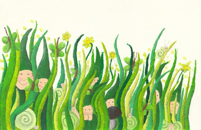 χαριτωμένη χλόη νάνων που σπρώχνει έξω διανυσματική απεικόνιση