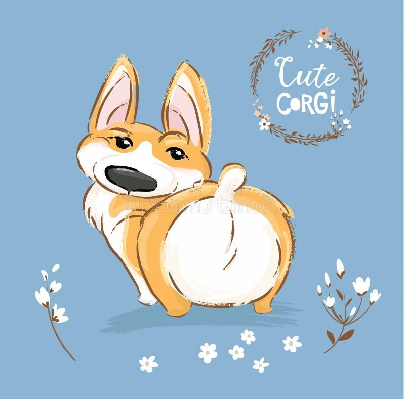 Χαριτωμένη Corgi σκυλιών διανυσματική απεικόνιση ουρών κουταβιών πίσω Όμορφη υπαίθρια αφίσα χαρακτήρα της Pet αλεπούδων Λίγο ευτυ απεικόνιση αποθεμάτων