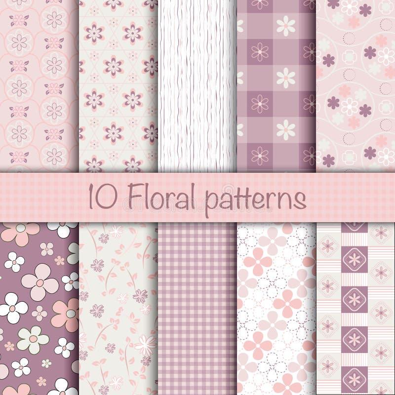 Χαριτωμένη floral άνευ ραφής συλλογή σχεδίων ελεύθερη απεικόνιση δικαιώματος
