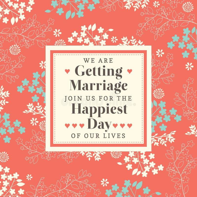 Χαριτωμένη Floral γαμήλια πρόσκληση σχεδίων διανυσματική απεικόνιση