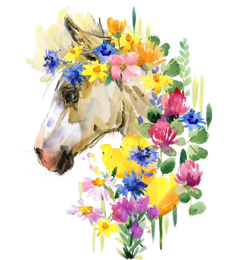 Χαριτωμένη foal απεικόνιση watercolor 7 ζωικές σειρές αγροτικής απεικόνισης κινούμενων σχεδίων ελεύθερη απεικόνιση δικαιώματος