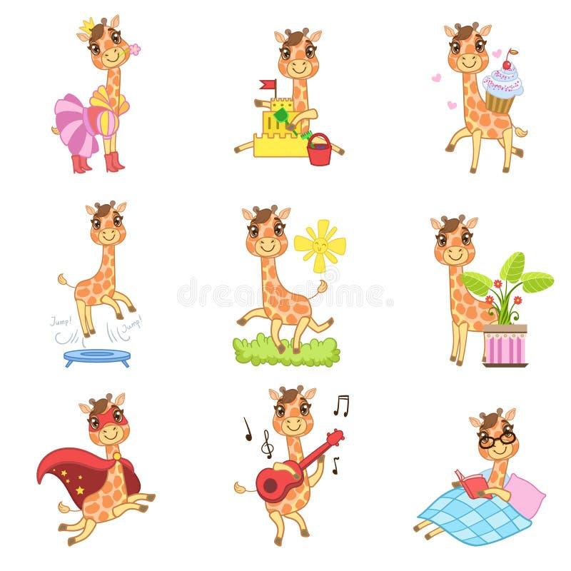 Χαριτωμένη Giraffe συλλογή κινούμενων σχεδίων διανυσματική απεικόνιση