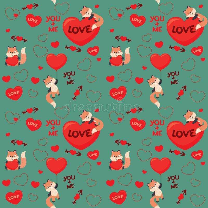 Χαριτωμένη Kawaii ύφους αλεπούδων αγάπης βαλεντίνων διανυσματική απεικόνιση σχεδίων ημέρας άνευ ραφής ελεύθερη απεικόνιση δικαιώματος