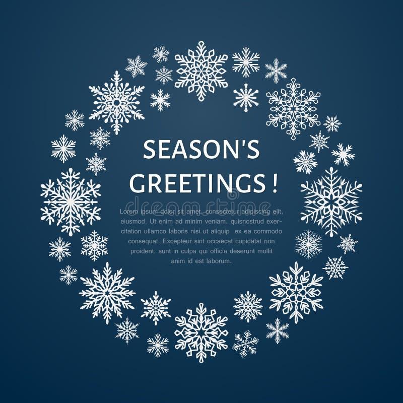 Χαριτωμένη snowflake αφίσα, έμβλημα η δροσερή πράσινη φωτογραφία διακοσμήσεων διακοπών χαιρετισμών σύνθεσης Χριστουγέννων παρουσι απεικόνιση αποθεμάτων