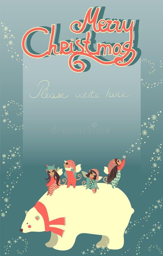 Χαριτωμένοι άγγελοι και Χριστούγεννα εορτασμού πολικών αρκουδών διανυσματική απεικόνιση