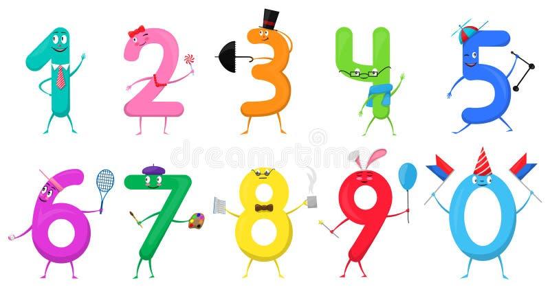 Χαριτωμένοι αριθμοί συλλογής διασκέδασης ζωηρόχρωμοι υπό μορφή διάφορων κινούμενων σχεδίων διανυσματική απεικόνιση