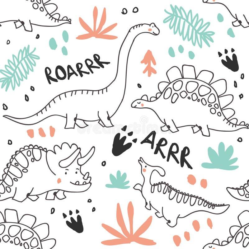 Χαριτωμένοι δεινόσαυροι και τροπικό άνευ ραφής σχέδιο εγκαταστάσεων ελεύθερη απεικόνιση δικαιώματος