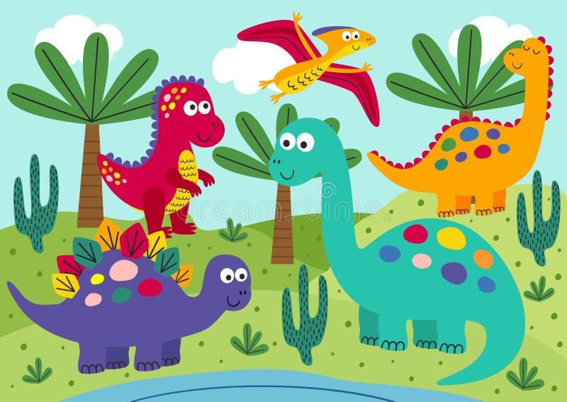 Χαριτωμένοι δεινόσαυροι με το υπόβαθρο τοπίων απεικόνιση αποθεμάτων