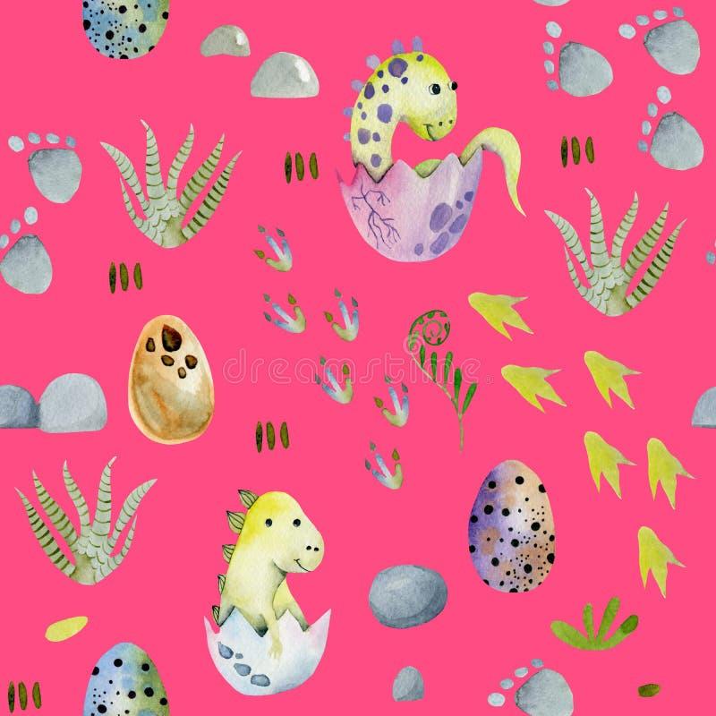 Χαριτωμένοι δεινόσαυροι μωρών Watercolor στο άνευ ραφής σχέδιο αυγών στοκ φωτογραφία