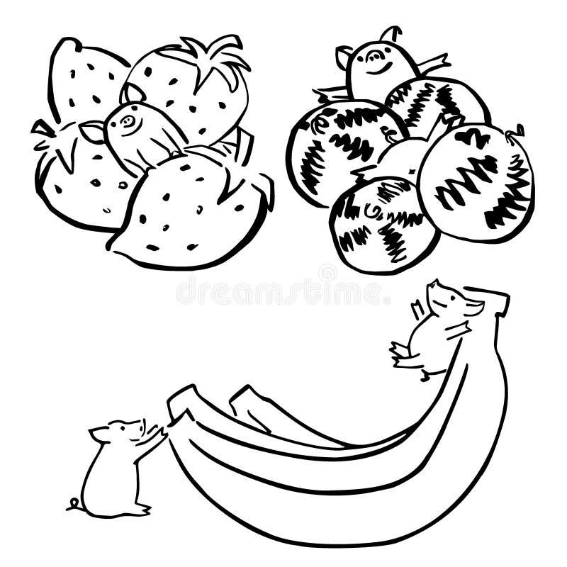Χαριτωμένοι διανυσματικοί αστείοι καθορισμένοι χοίροι με τα φρούτα διανυσματική απεικόνιση