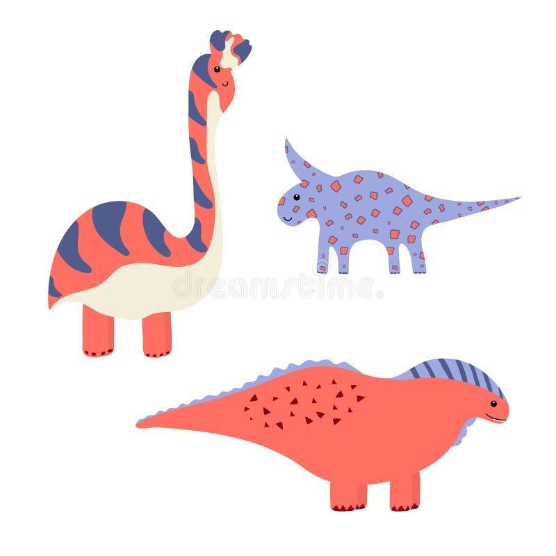 Χαριτωμένοι διανυσματικοί δεινόσαυροι που απομονώνονται στο άσπρο υπόβαθρο Dino ελεύθερη απεικόνιση δικαιώματος