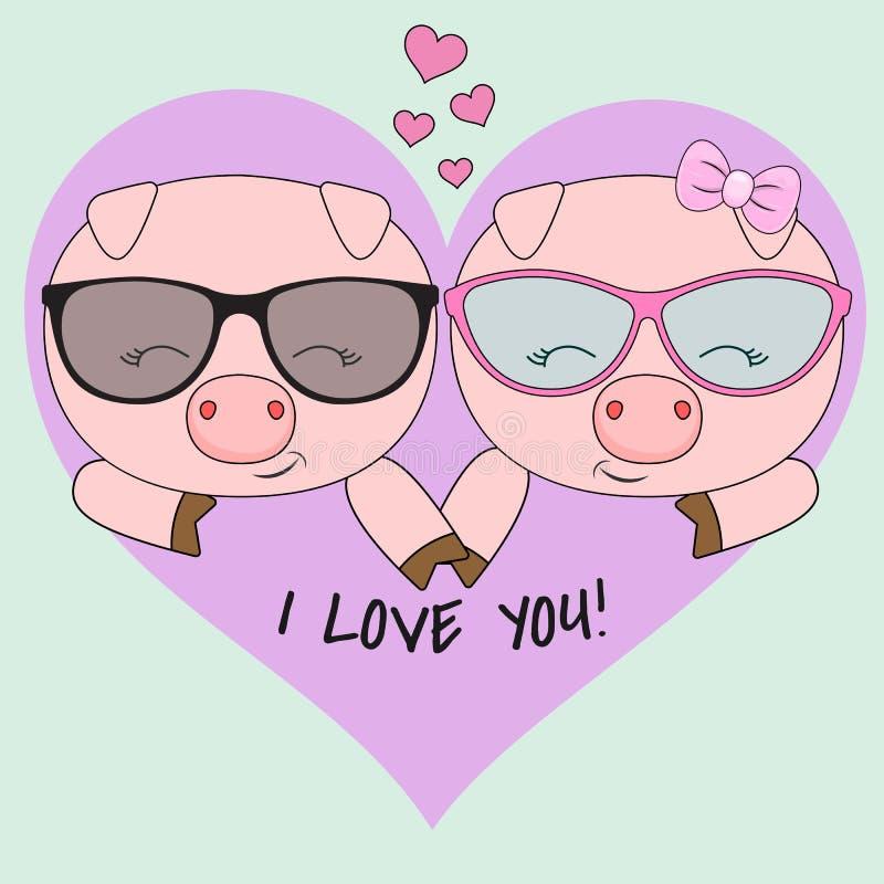 Χαριτωμένοι δύο χοίροι, ένα αγόρι και ένα κορίτσι στα γυαλιά που απομονώνονται σε ένα μπλε υπόβαθρο με μια ρόδινη καρδιά διανυσματική απεικόνιση