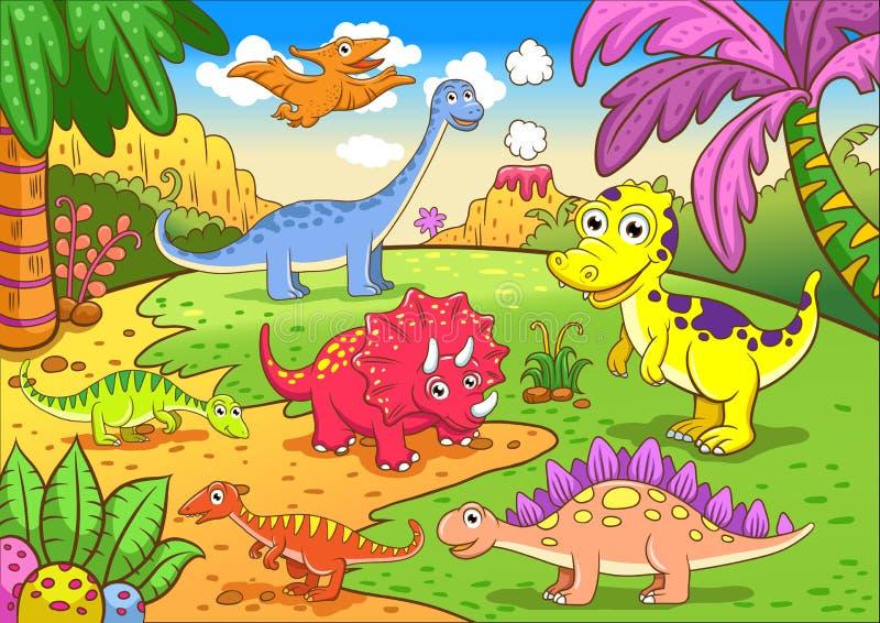 Χαριτωμένοι δεινόσαυροι στην προϊστορική σκηνή ελεύθερη απεικόνιση δικαιώματος