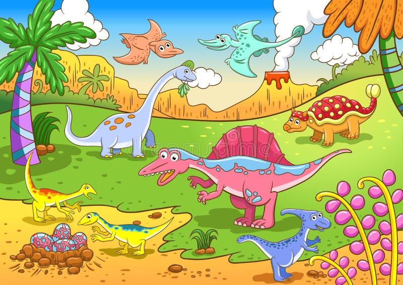 Χαριτωμένοι δεινόσαυροι στην προϊστορική σκηνή απεικόνιση αποθεμάτων
