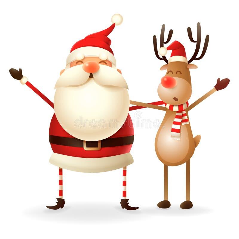 Χαριτωμένοι ευτυχείς Άγιος Βασίλης και ο τάρανδος γιορτάζουν τα Χριστούγεννα - που απομονώνονται στο διαφανές υπόβαθρο απεικόνιση αποθεμάτων